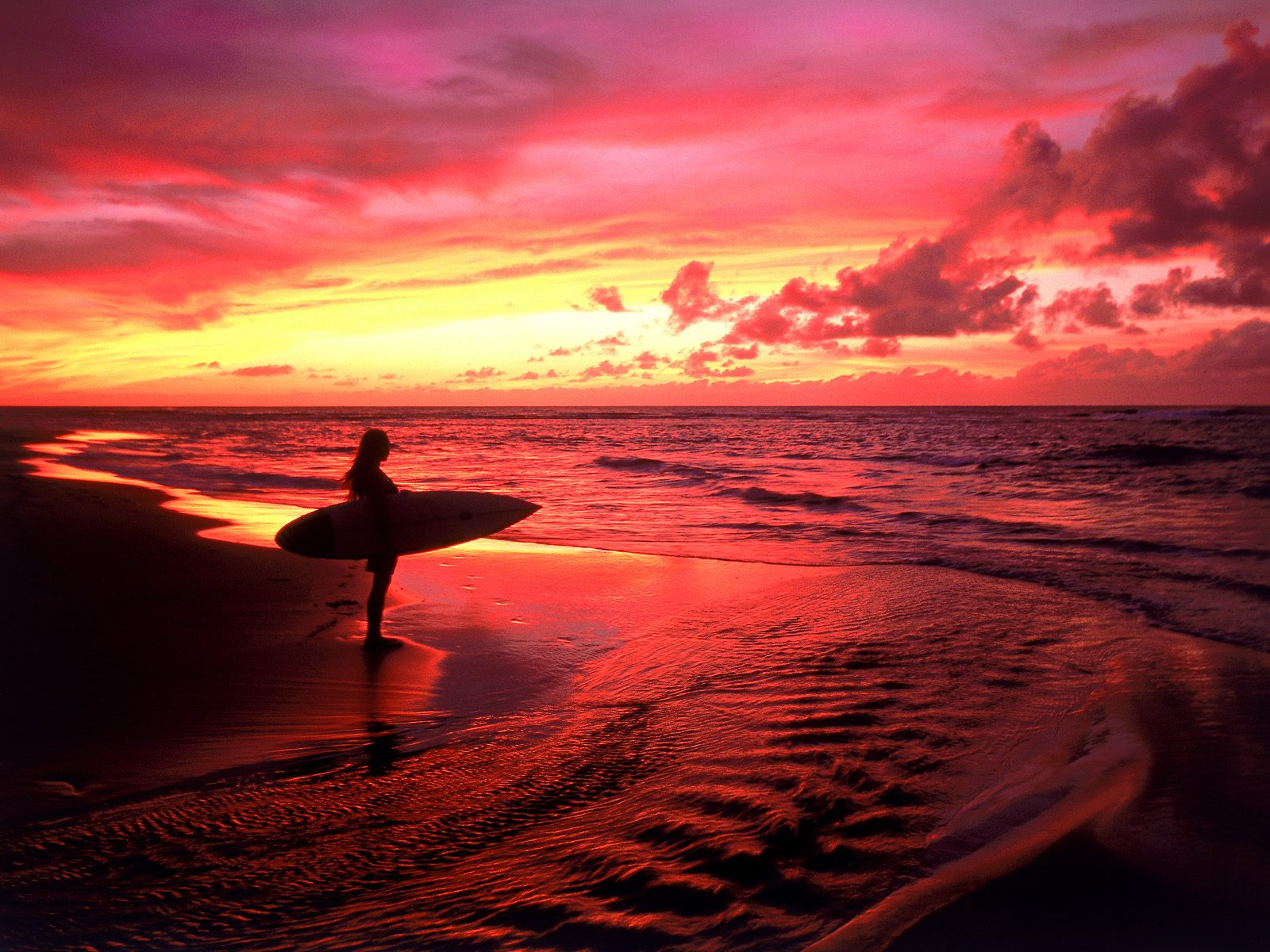 Surfer at Twilight Hawaii