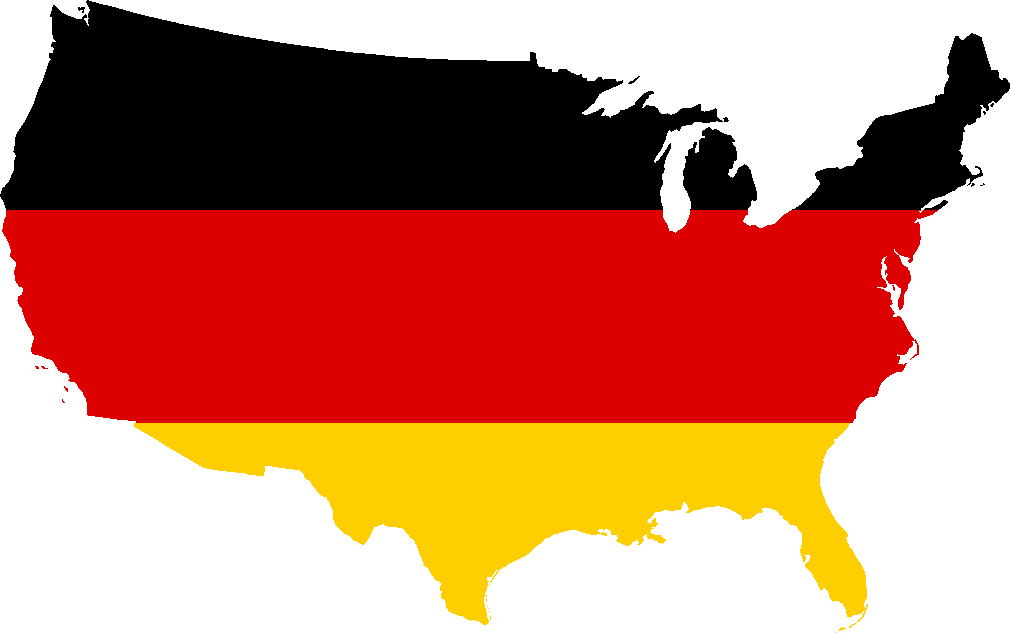 Germany and its Flag on a Map of USA 233.96 Kb