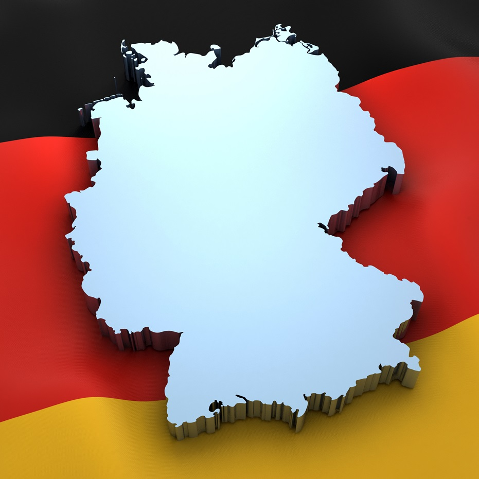 Germany Map over the Flag