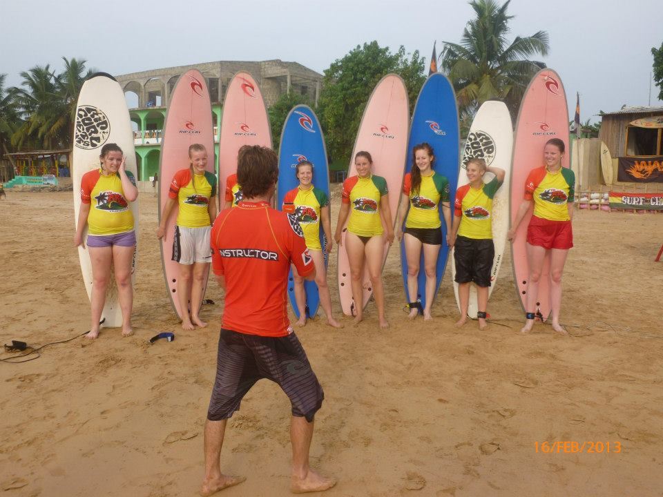 Ladies Surfers on the Beach in Ghana