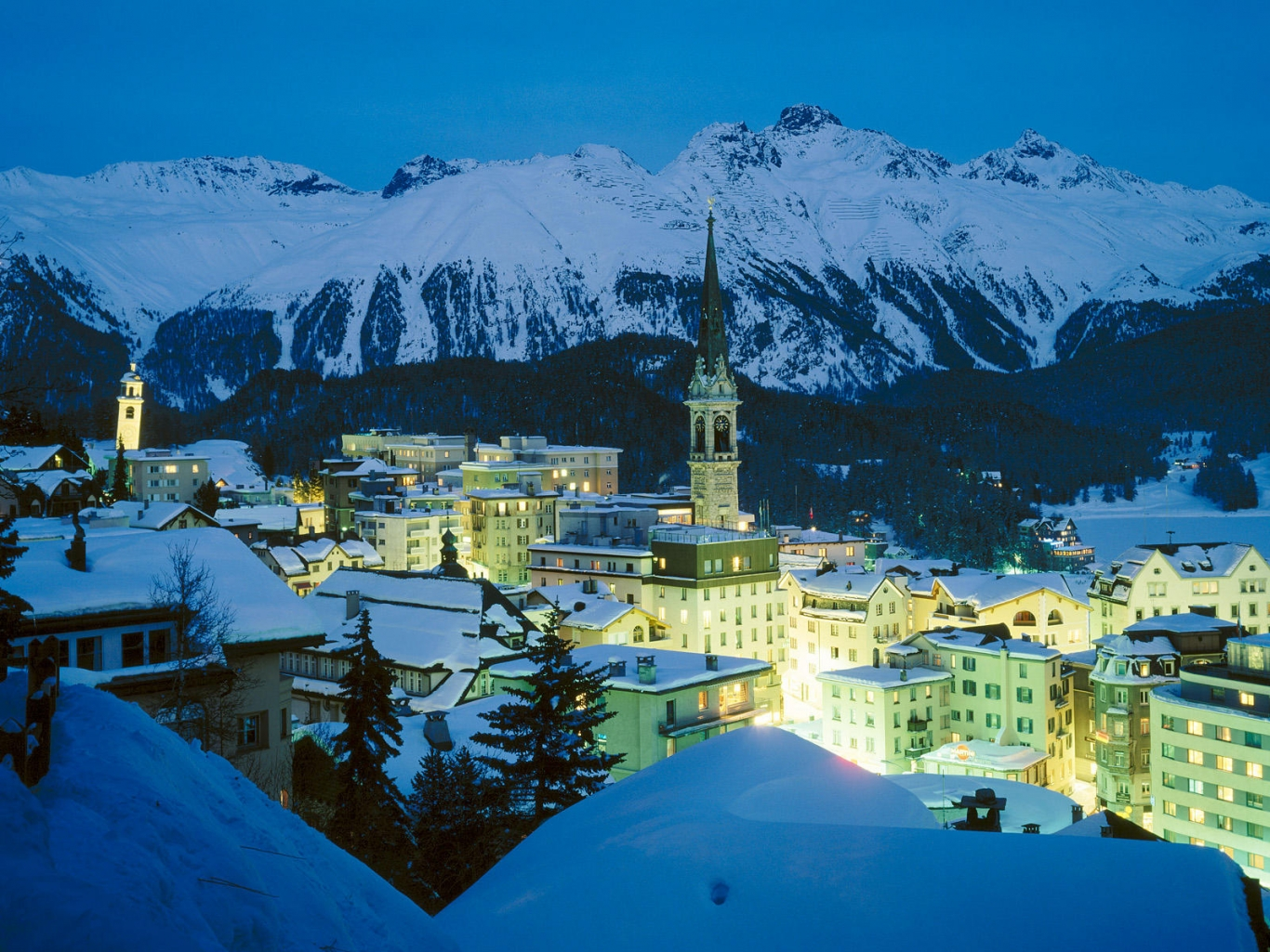 Night City in Lights and Snow in Switzerland 657.94 Kb