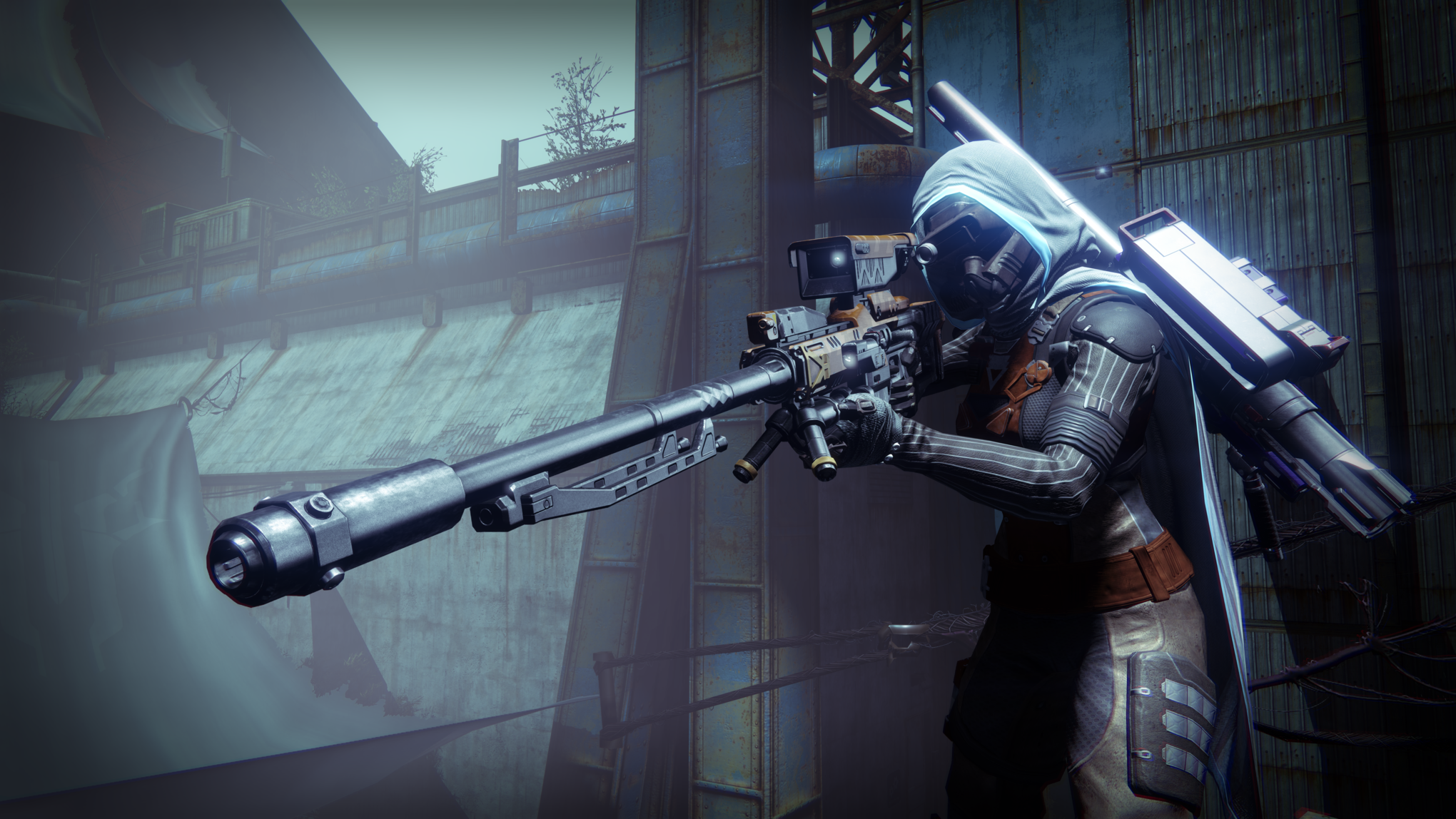 Armed Player in Video Game Destiny