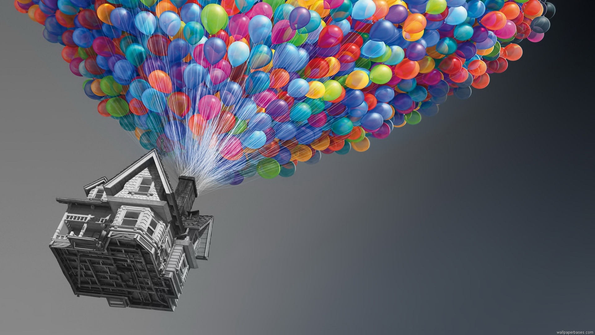 Colorful Wallpapers, House in the Air with Balloons