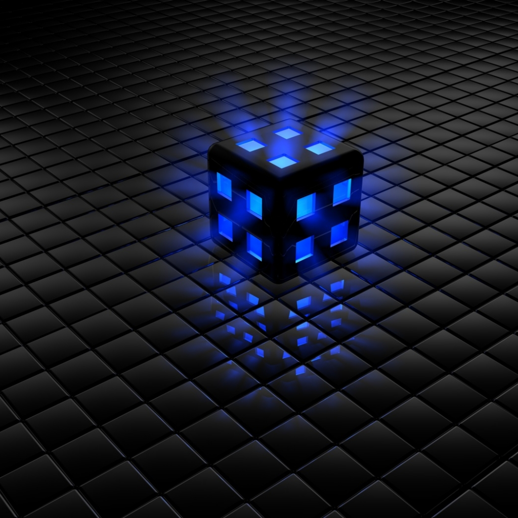 Black and Blue Cube, Wallpaper 3D