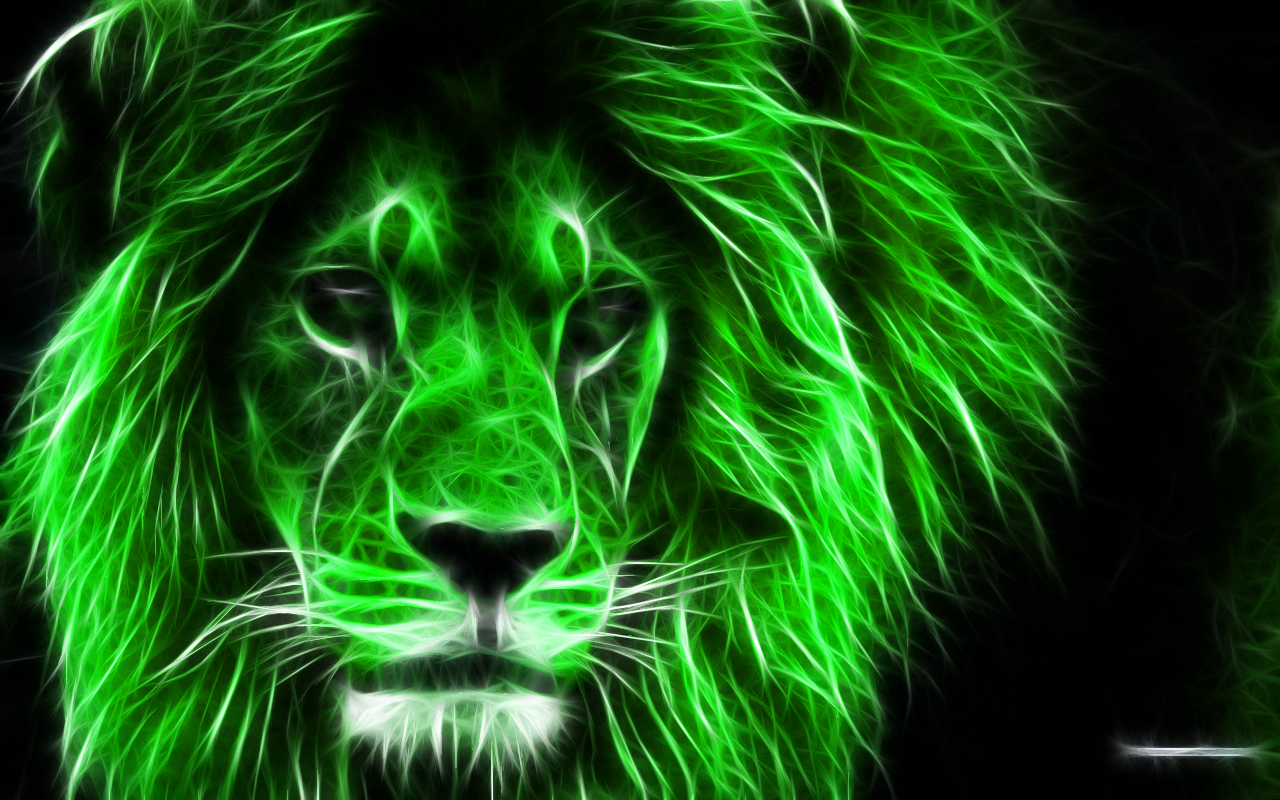 Colorful Illuminated Lion, Wallpaper 3D