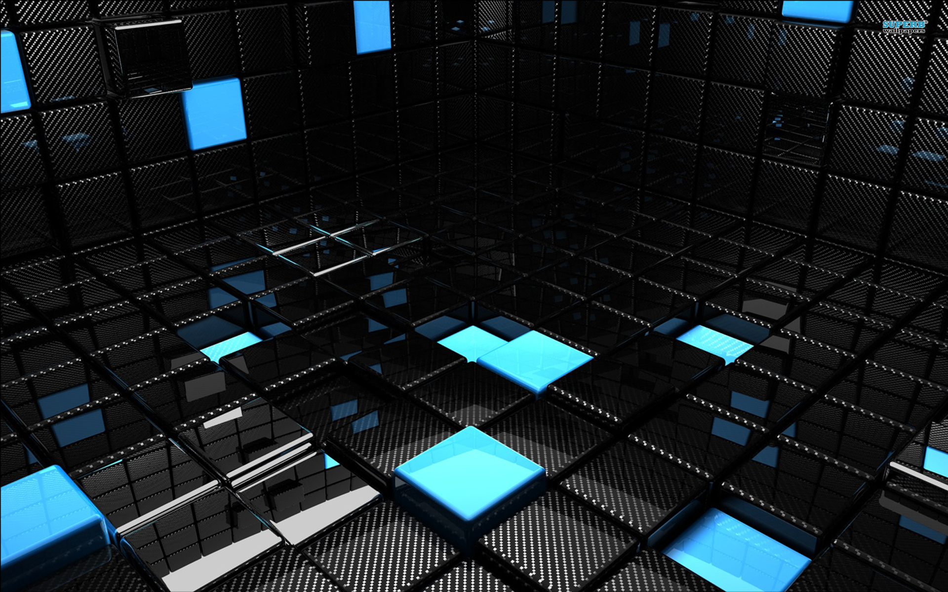 Black and Blue Cubes Wallpaper 3D