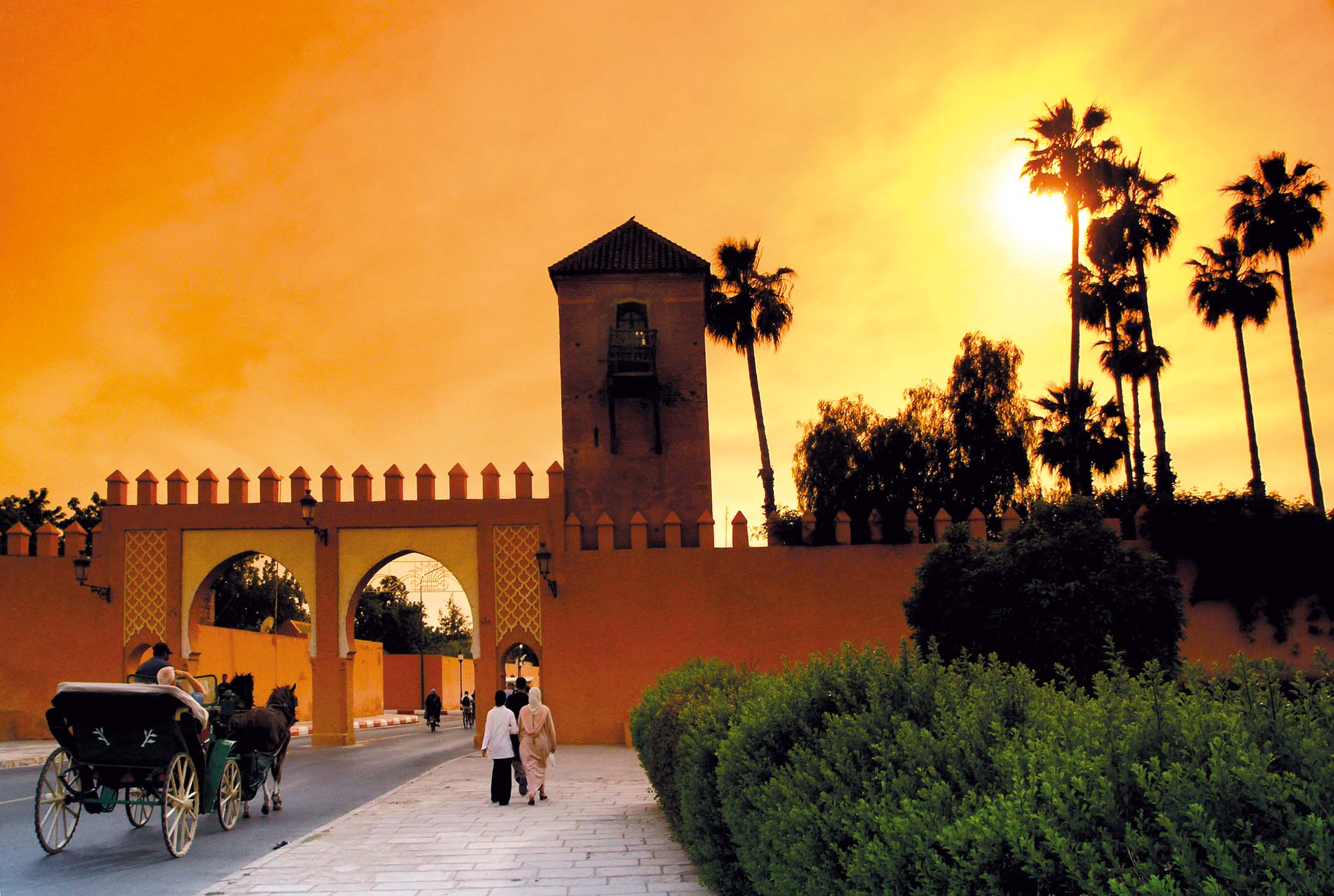Sunset Over Stylized Building in Morocco