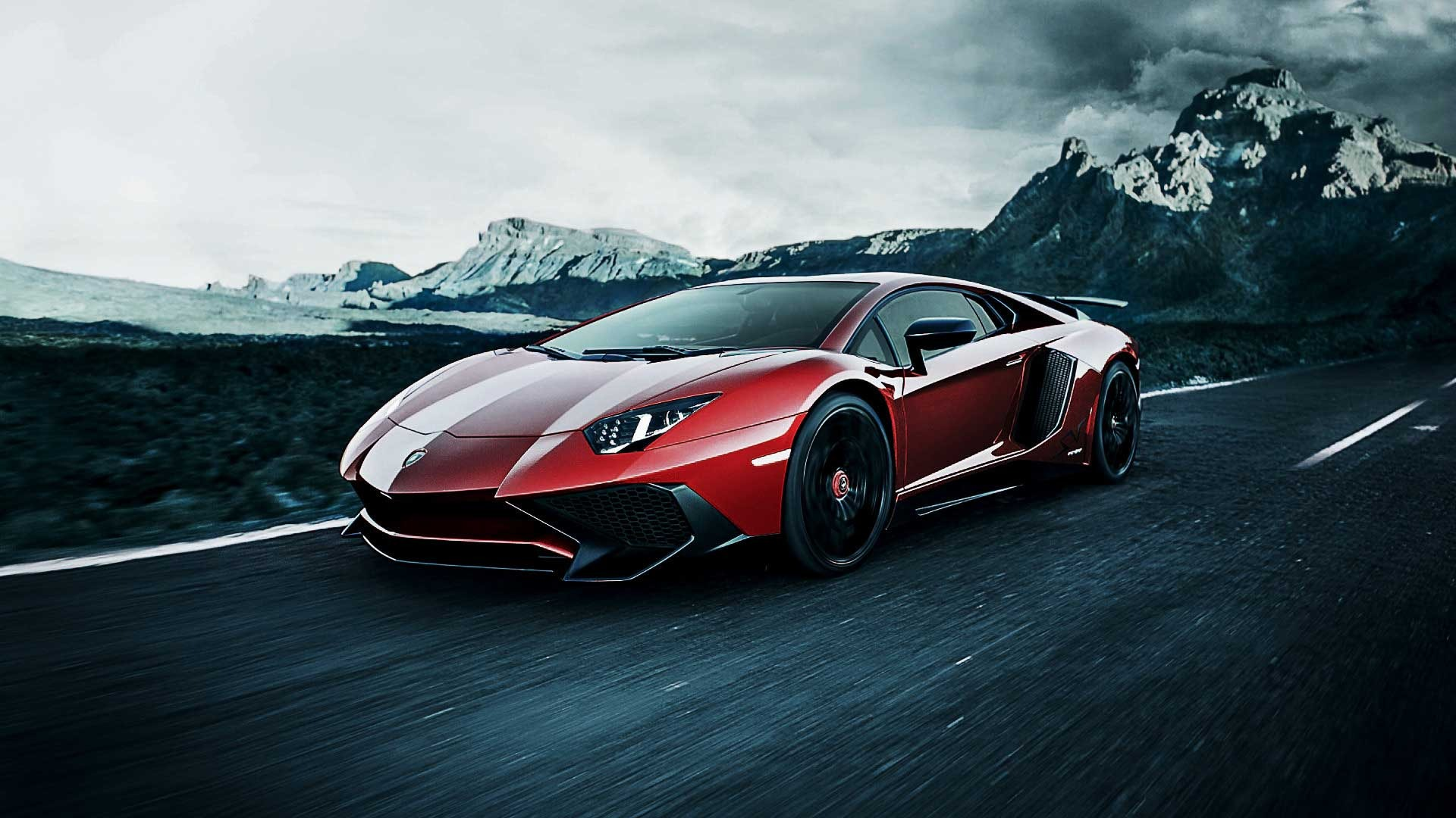 Red Lamborghini on a Speed Road 243.51 Kb