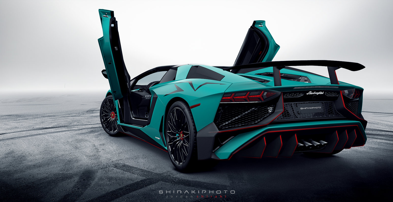 Green Lamborghini Doors Up