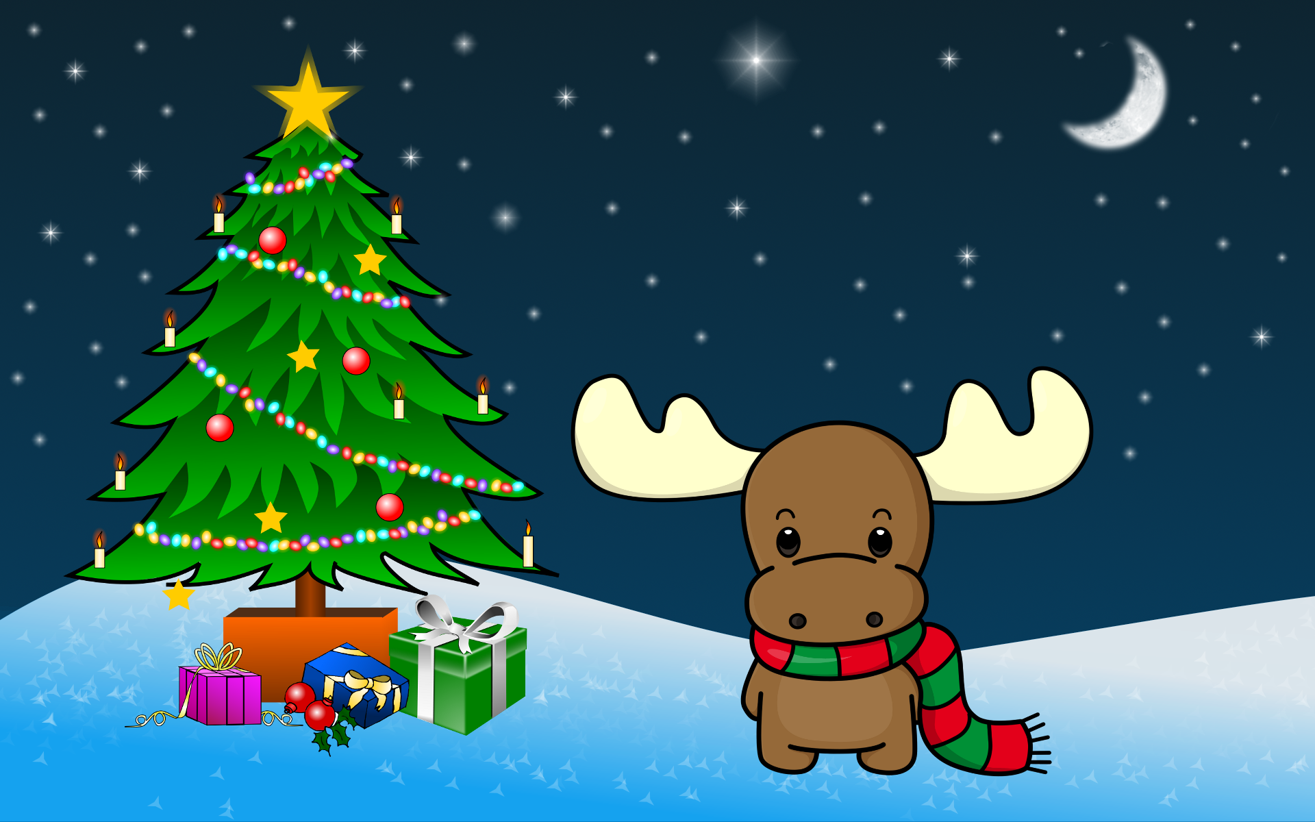 Images Of Christmas, Toy Elk Under Tree 113.07 Kb