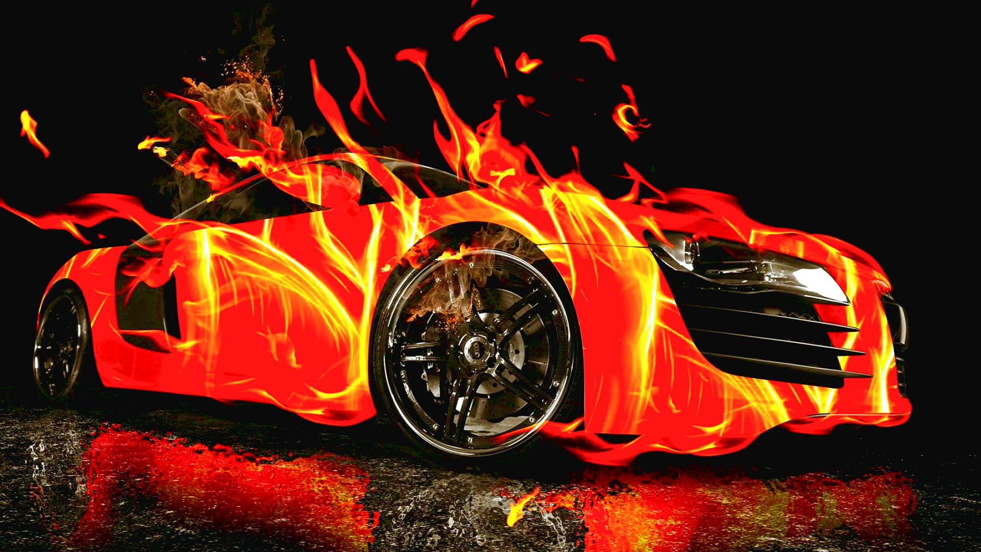Cool Images of a Car in Fire 2084.15 Kb