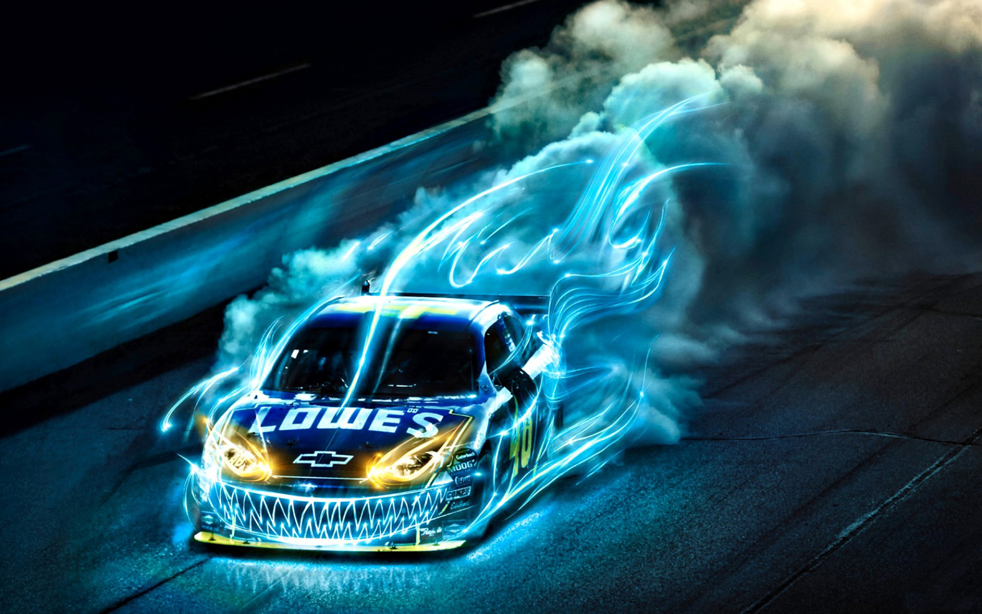 Racing Car with Blue Fire and Teeth