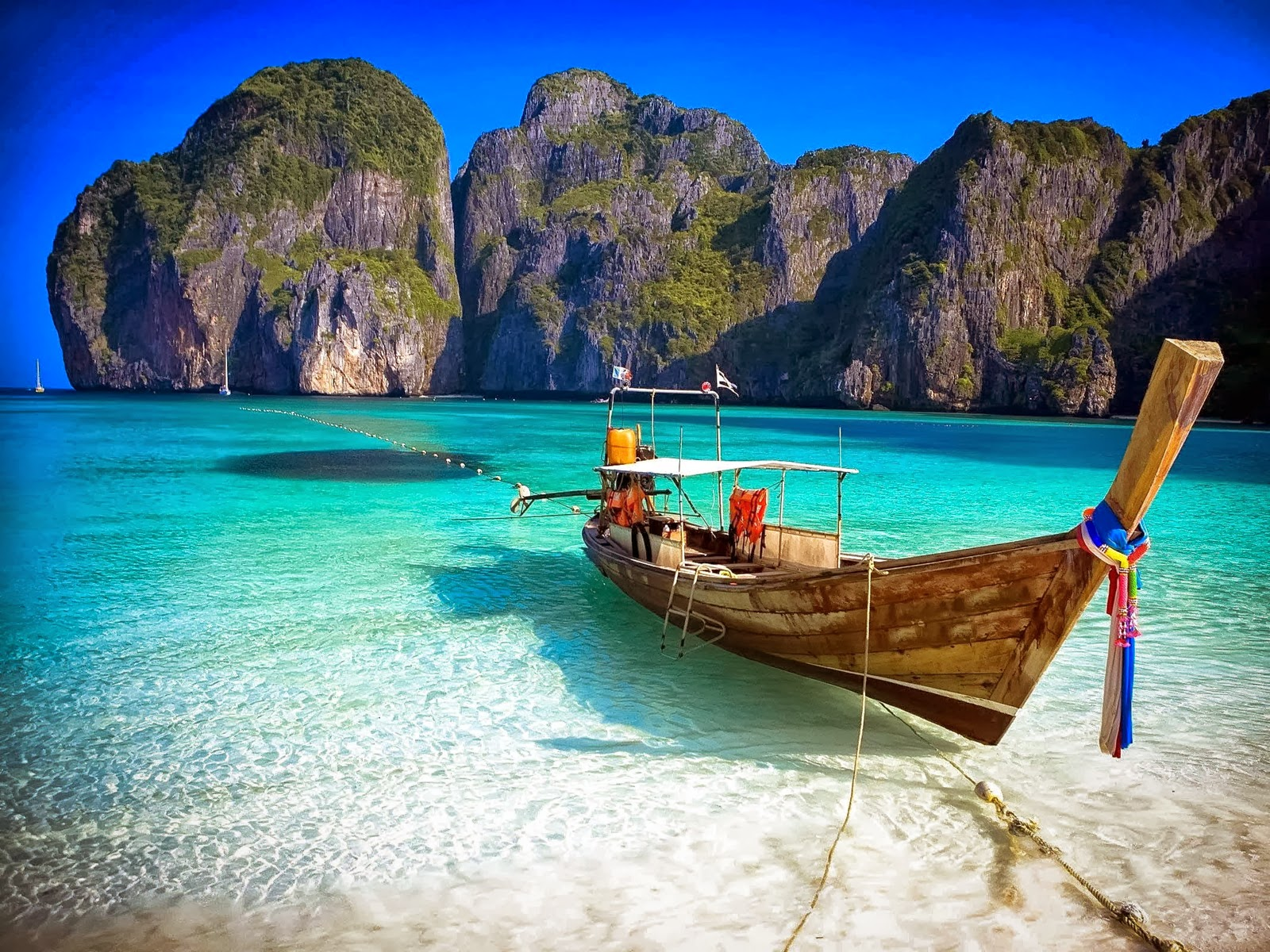 A Boat on a Beach in Thailand