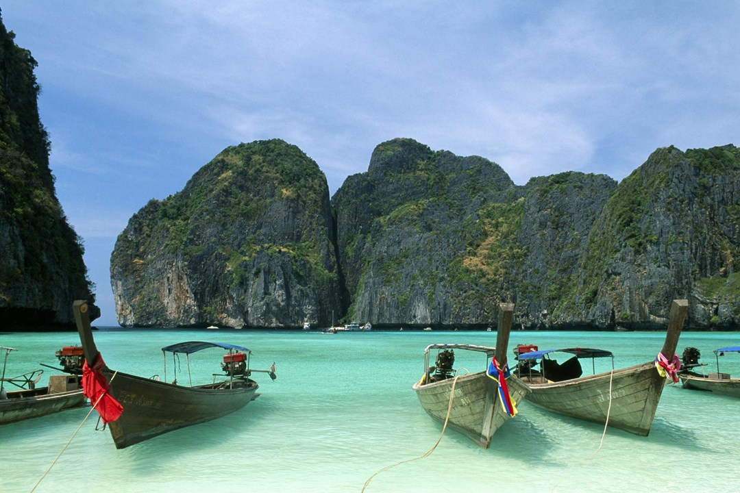 Boats in a Bay in Thailand