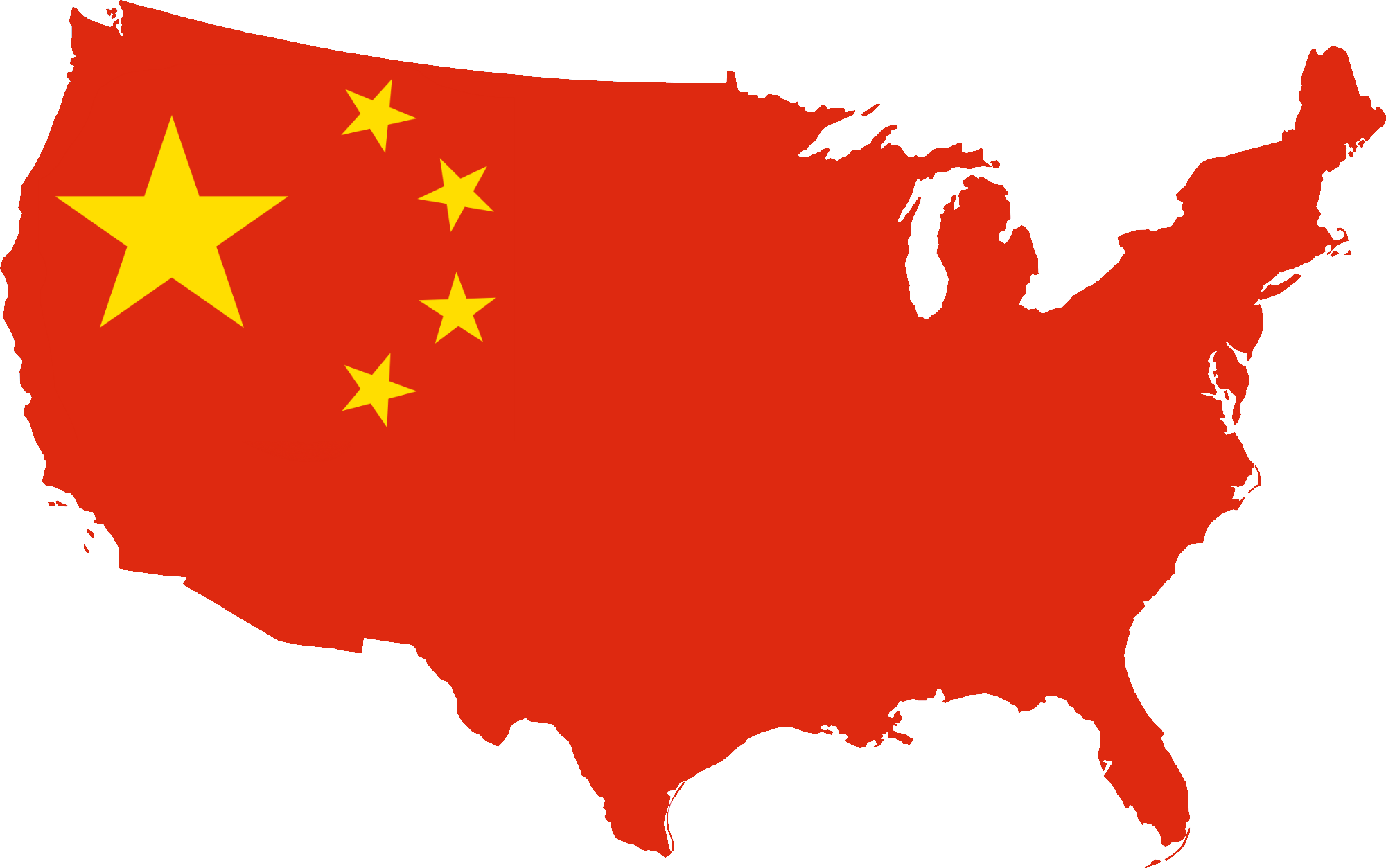 China Map on a Territory of USA