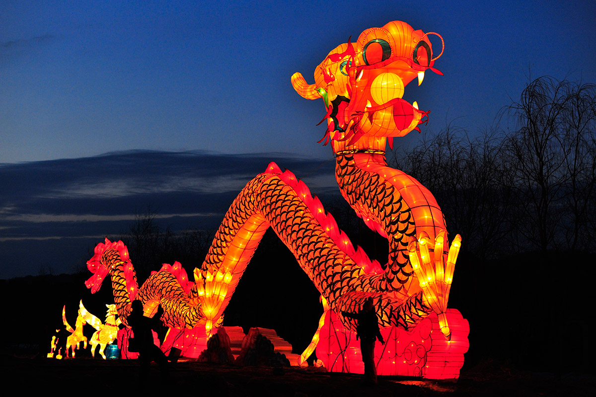 Illuminated Dragon on a Festival in China
