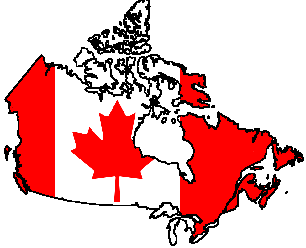 Canada Flag on a Map