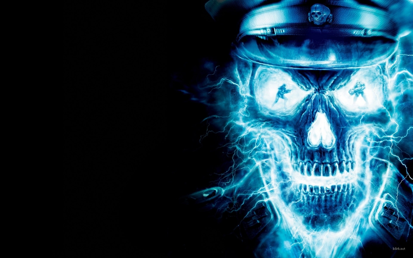 Blue Fire Skull Cool Pictures