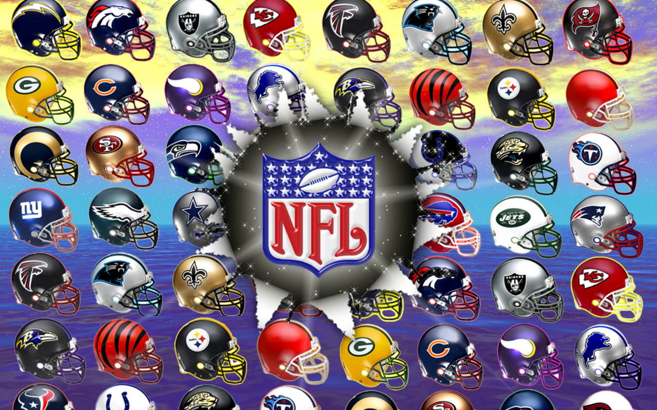Nfl Logo over Team Helmets
