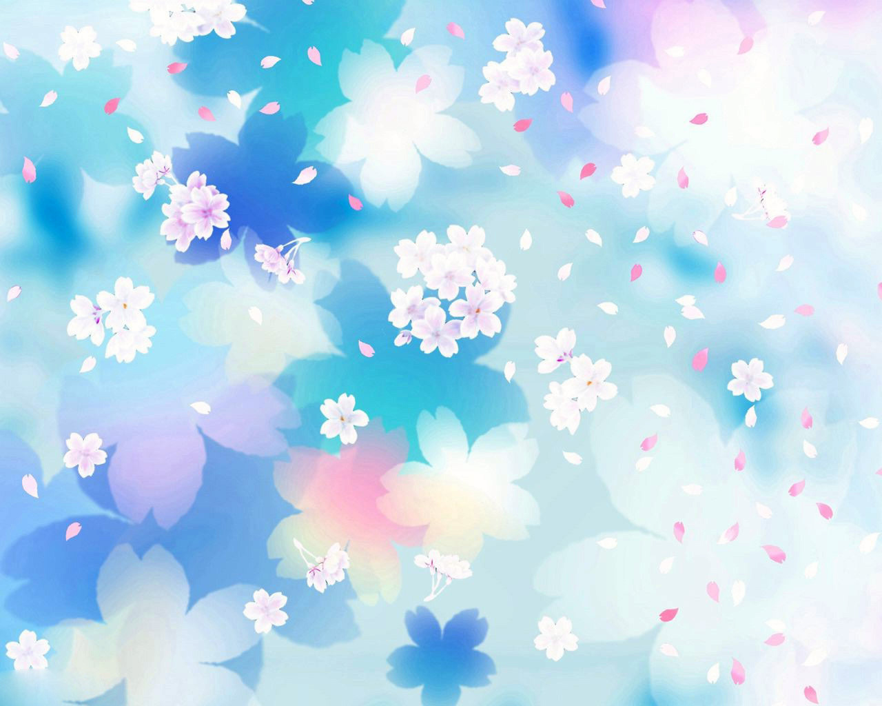 Blur Blue Flowers Backgrounds