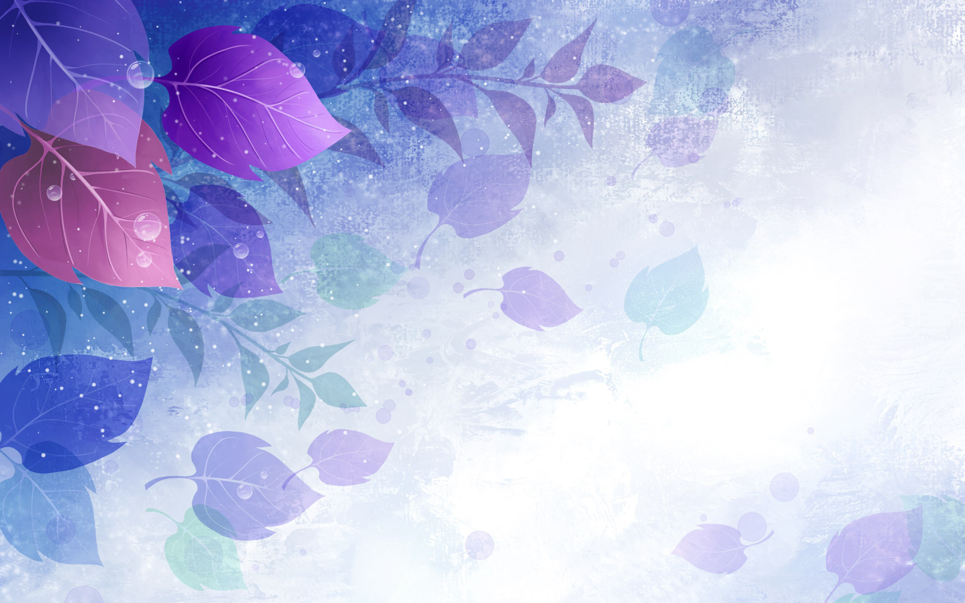 Purple Leaves with Waterdrops Backgrounds 198.9 Kb