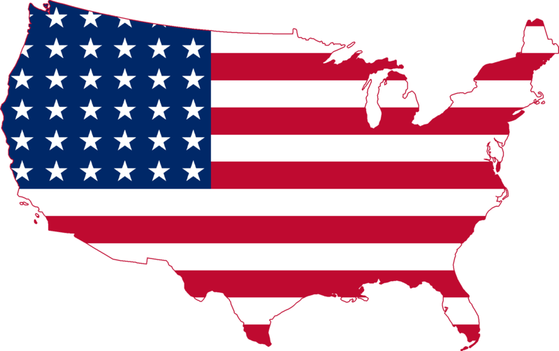 America Map with a Flag 1918.19 Kb