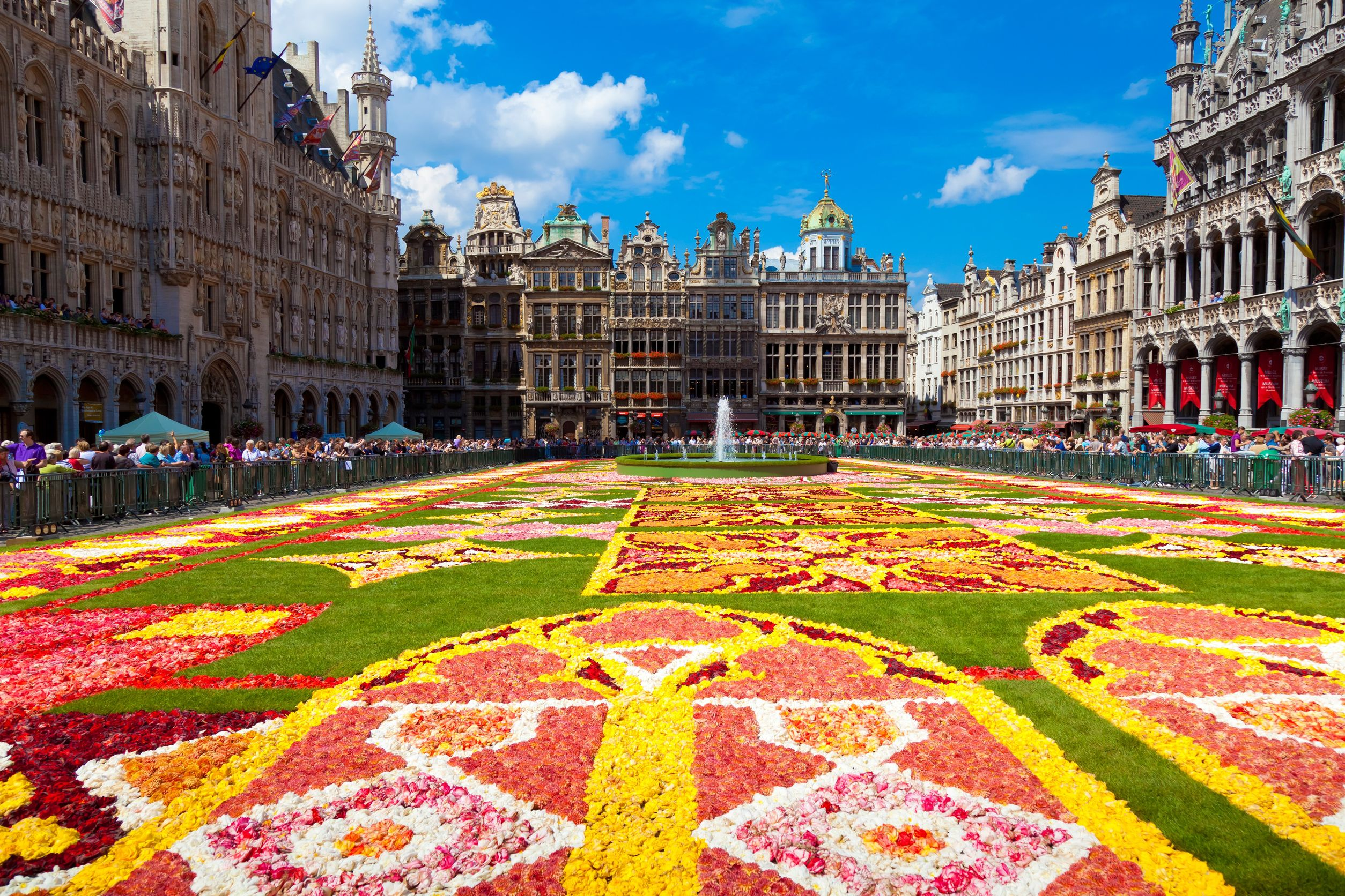 Flower Decorated Square in Belgium