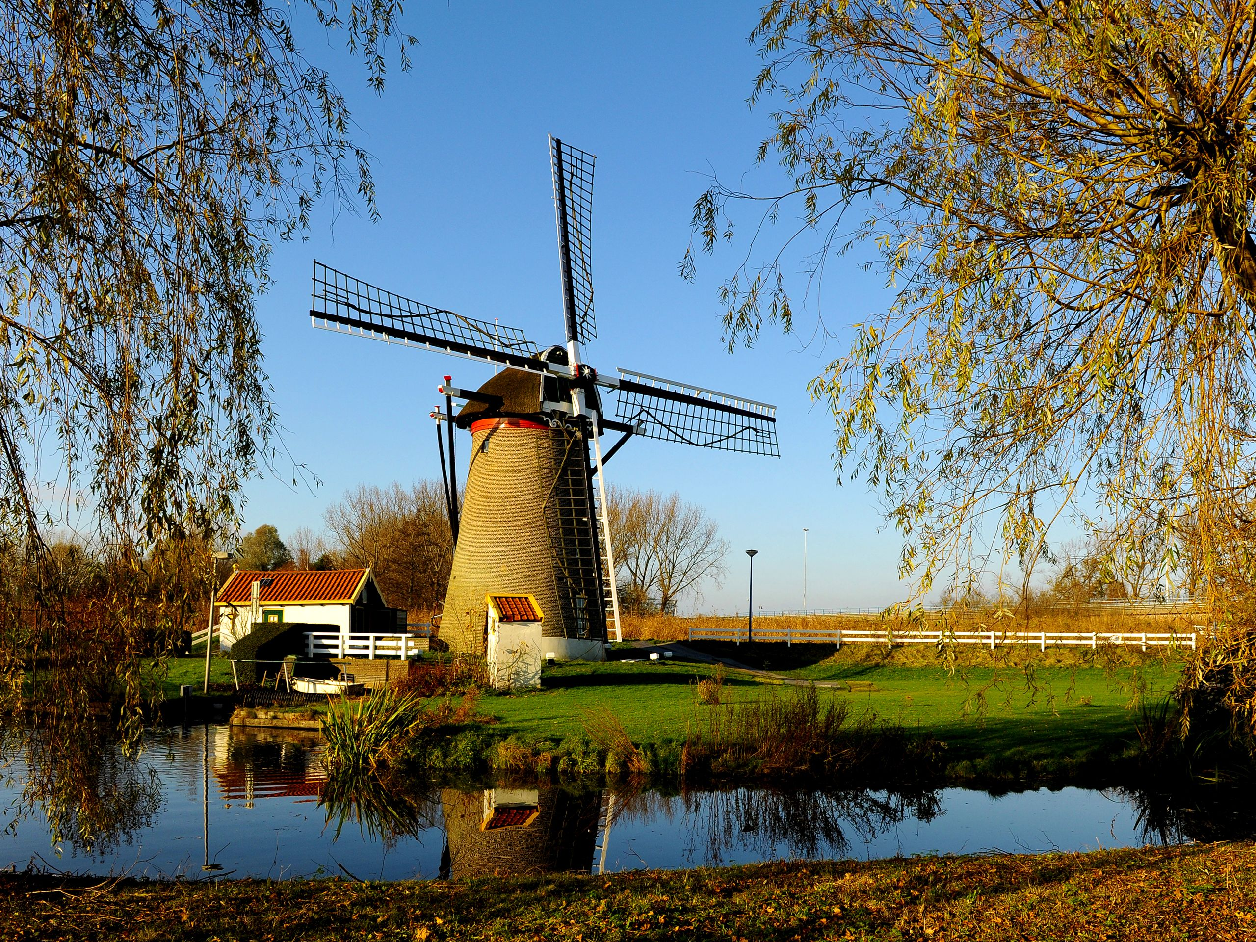 Windmill on the Field in the Netherlands