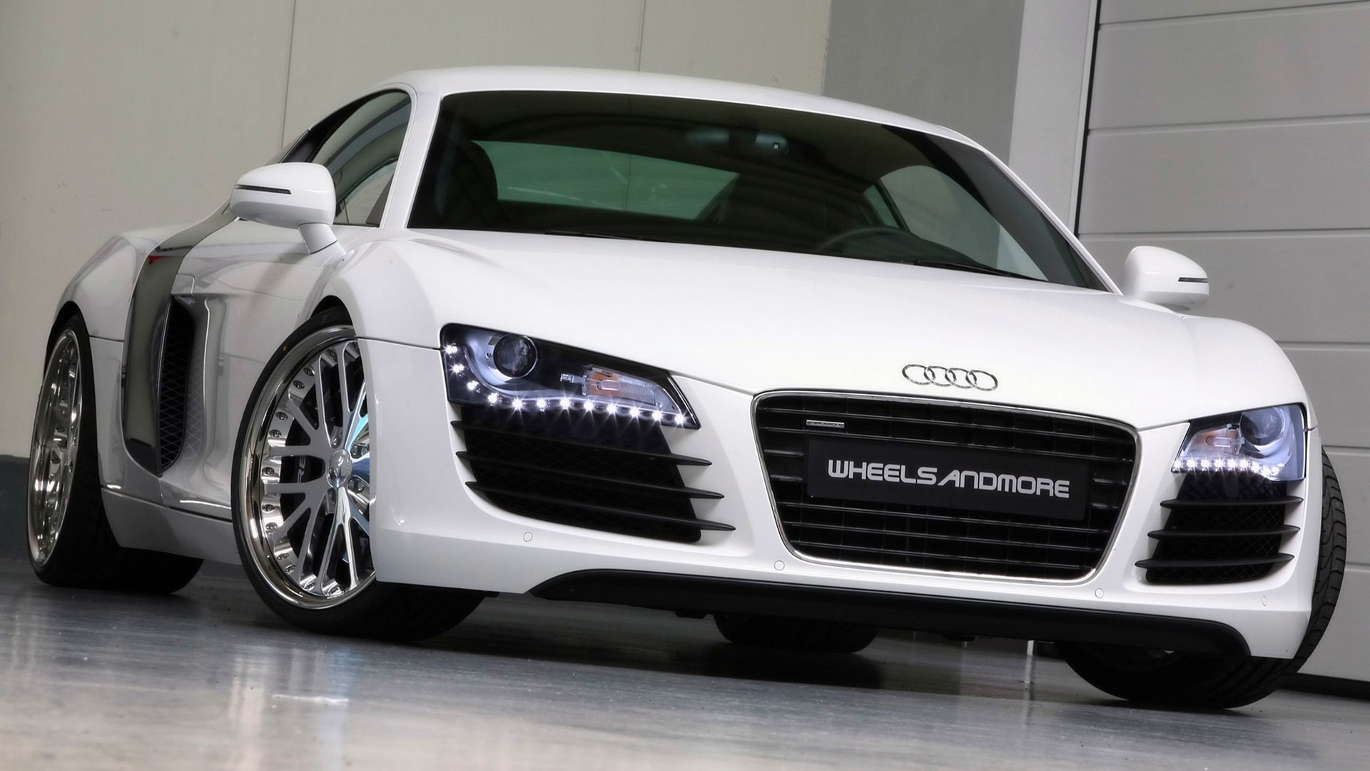White Audi R8 in Showroom