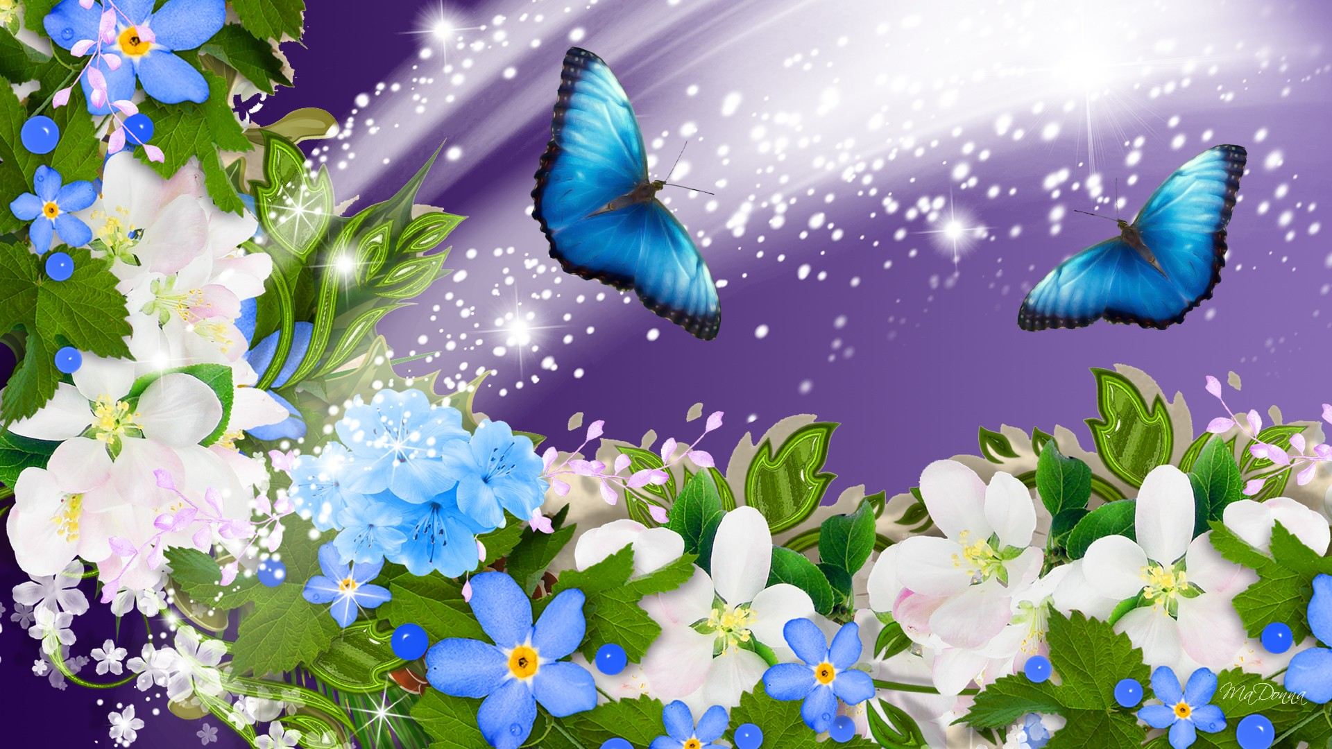 Flowers Wallpaper with Butterflies 1271.72 Kb
