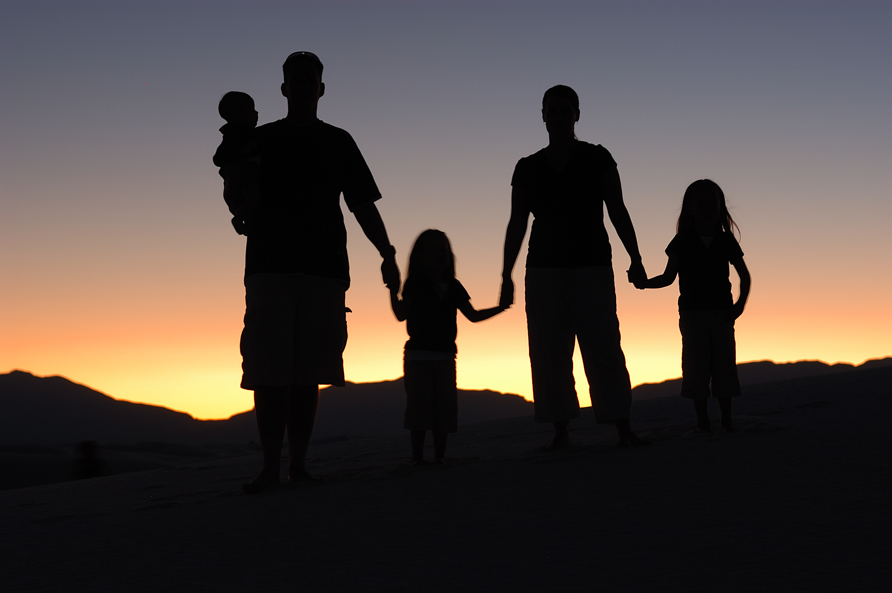 Family of Five at Sunset