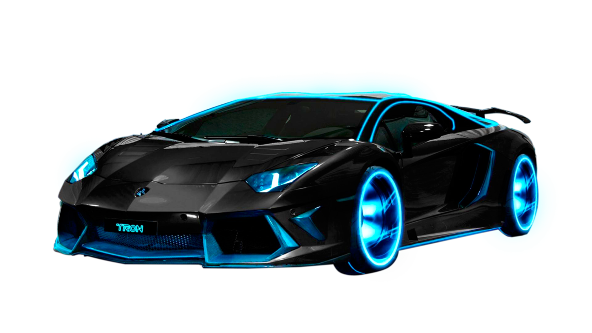 Sports Car with Blue Neon Wheels