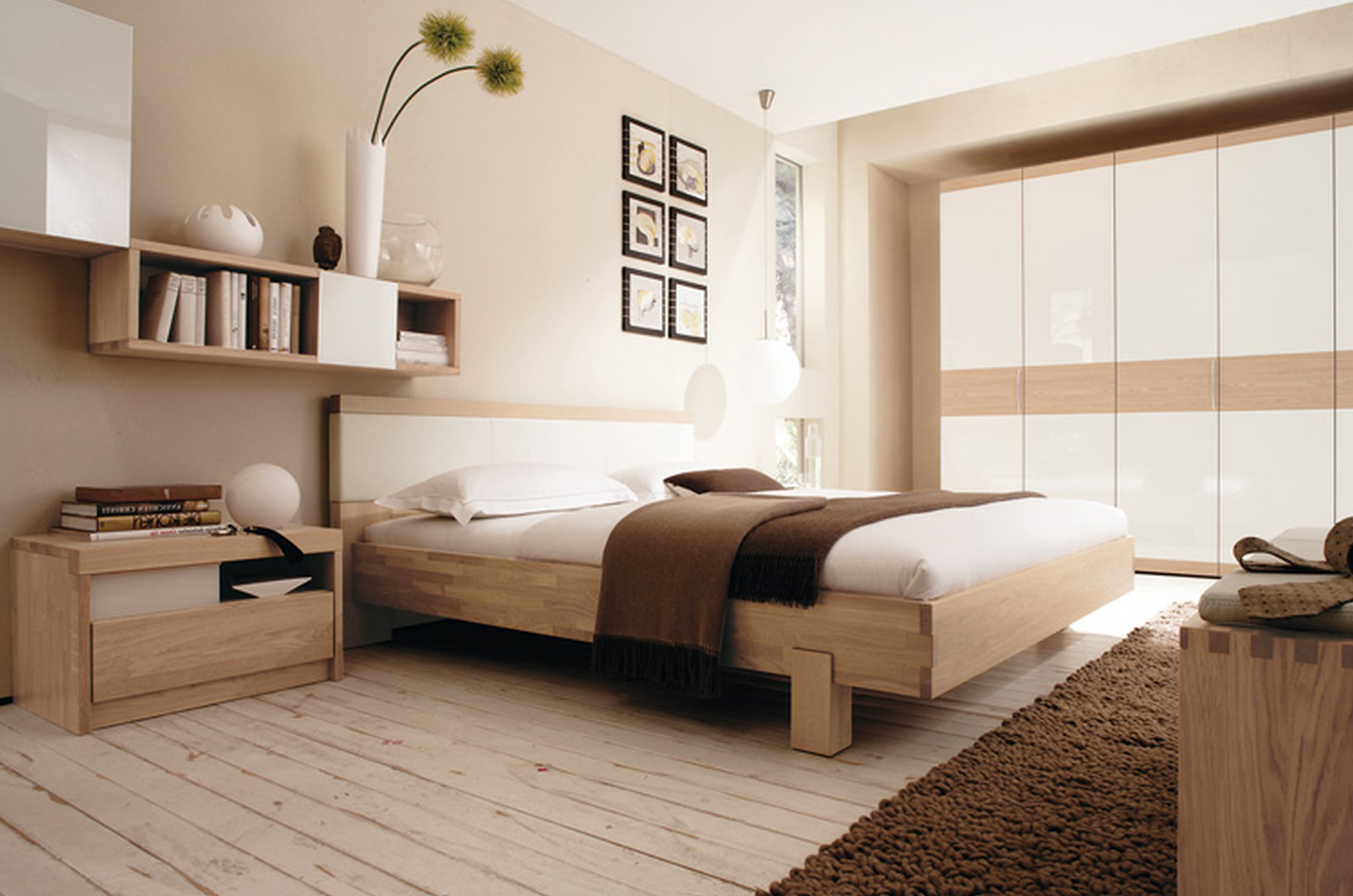 Bright Bedroom with Wooden Design