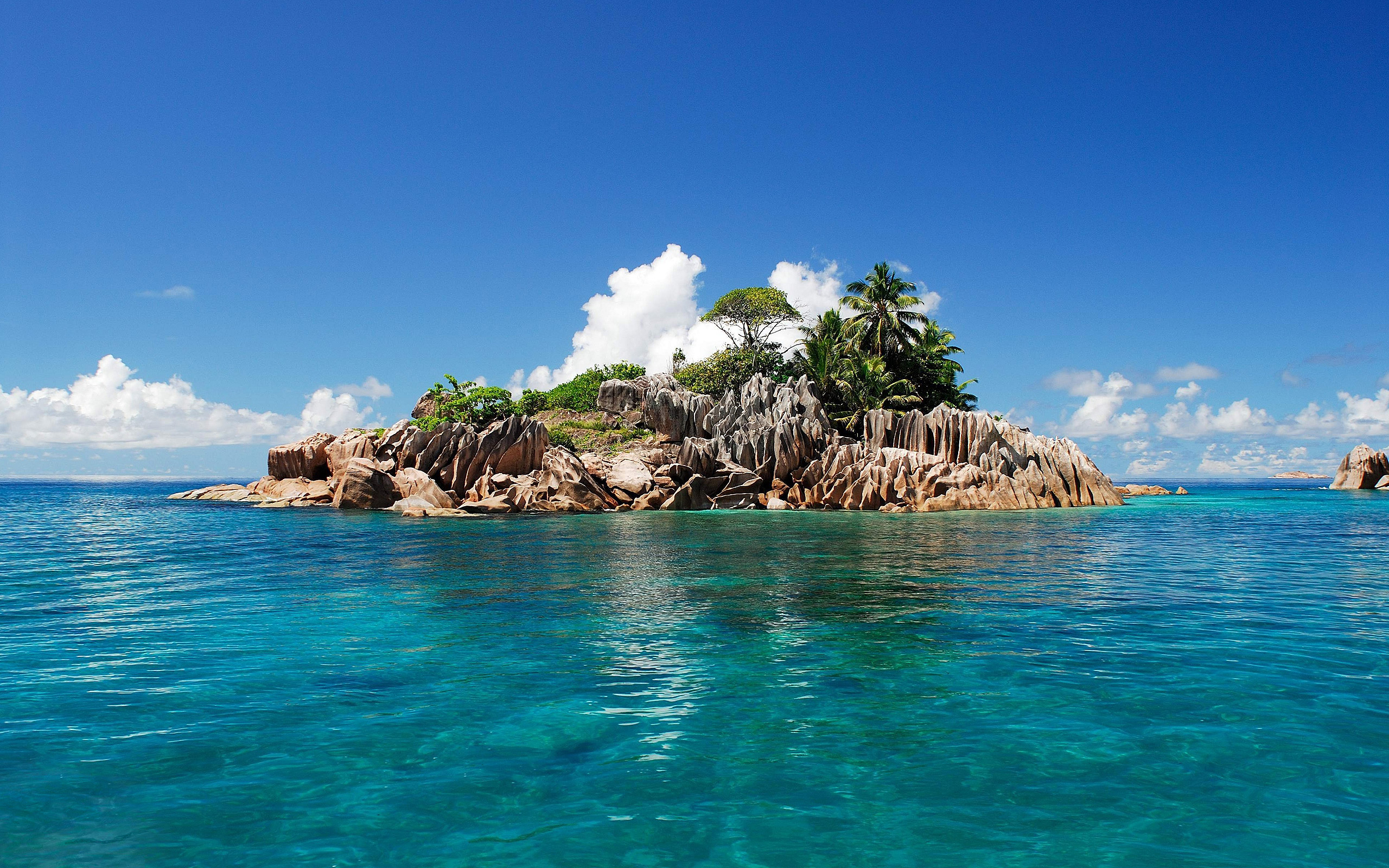 Island with Greenery in Azure Waters