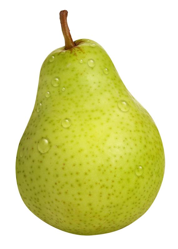 Pear Fruit in Waterdrops