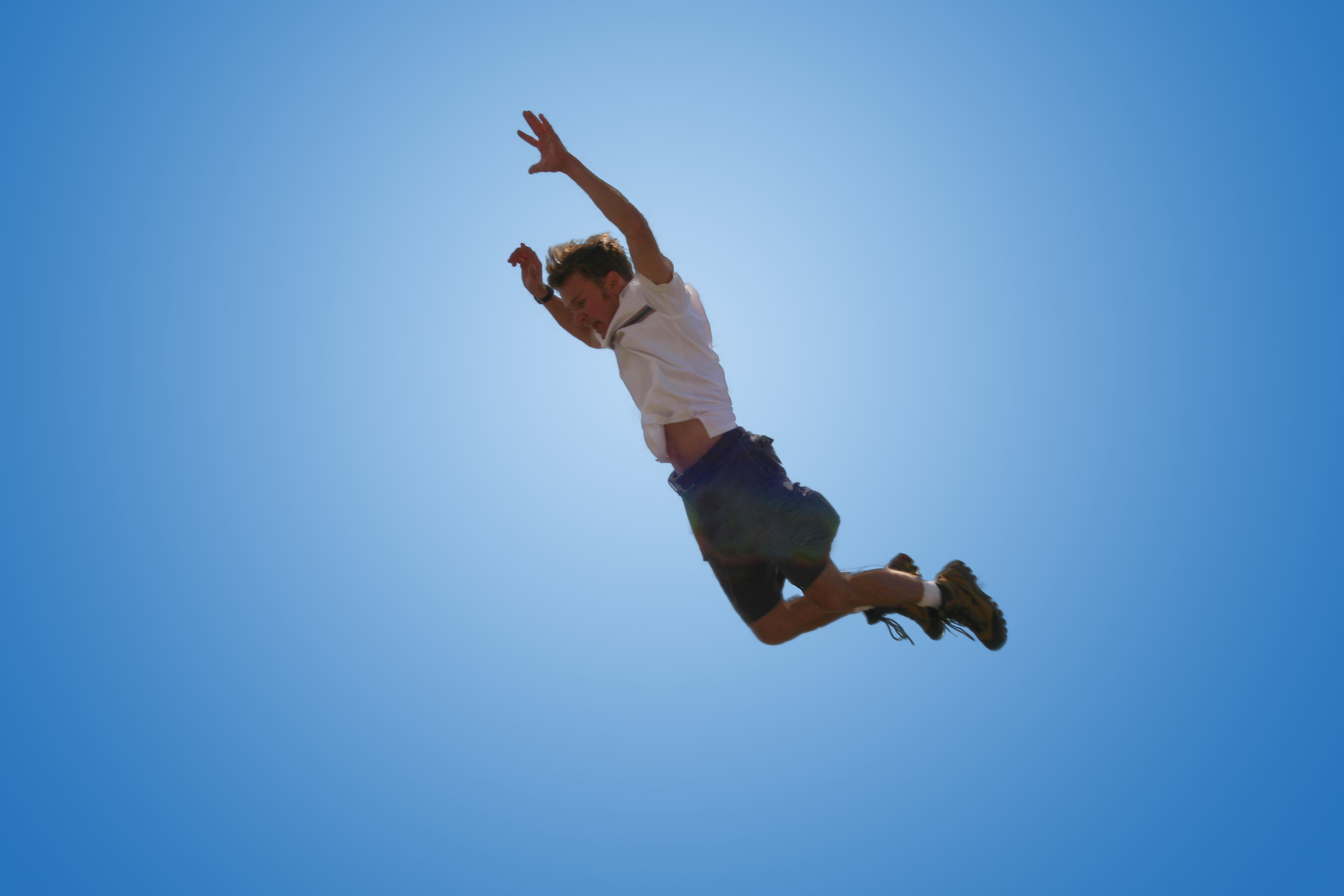 Crazy Jump on a Blue Background