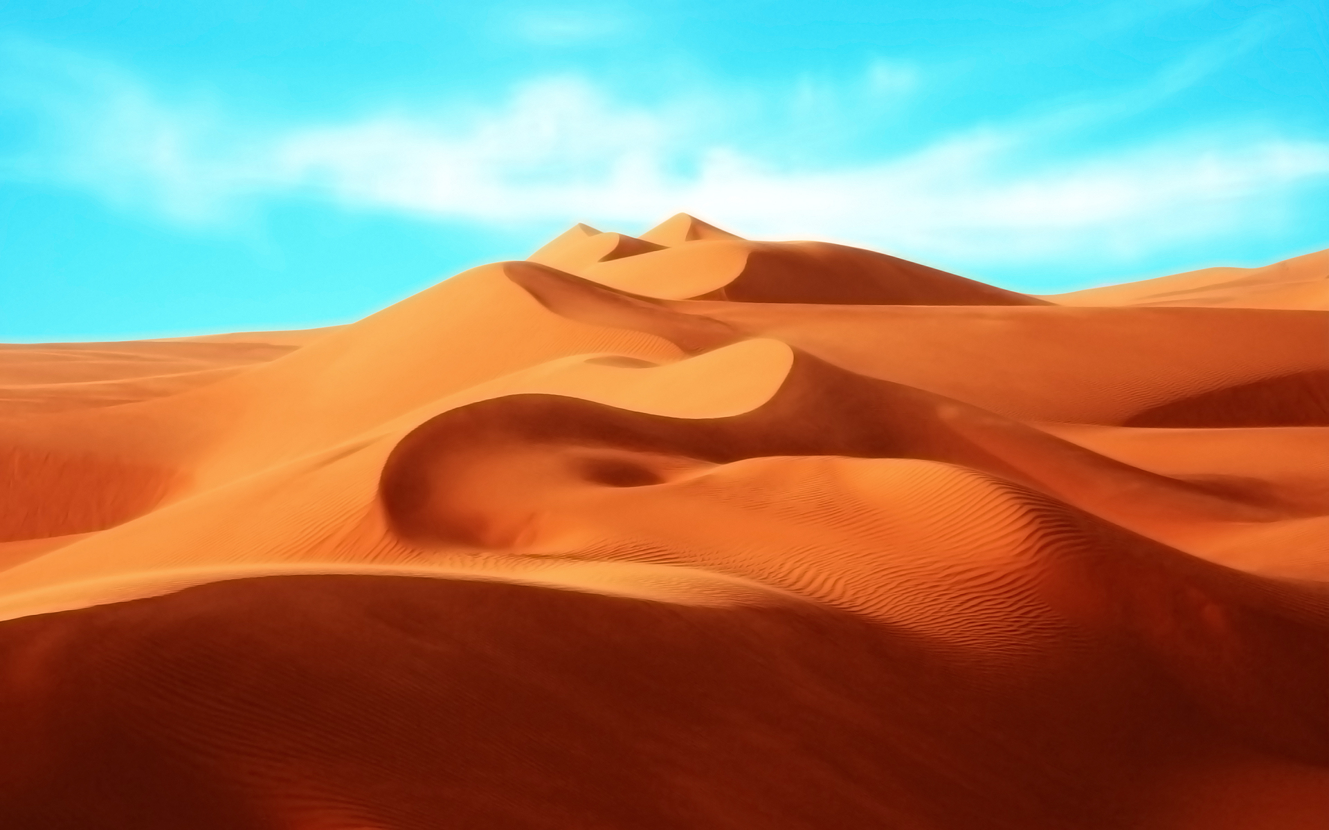 Curved Lines of Sand Hills in a Desert 254.2 Kb