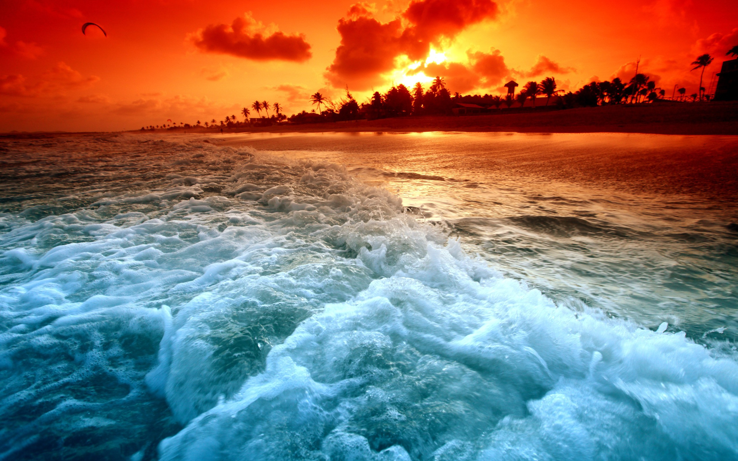 Paradise, Ocean Waves at Sunset