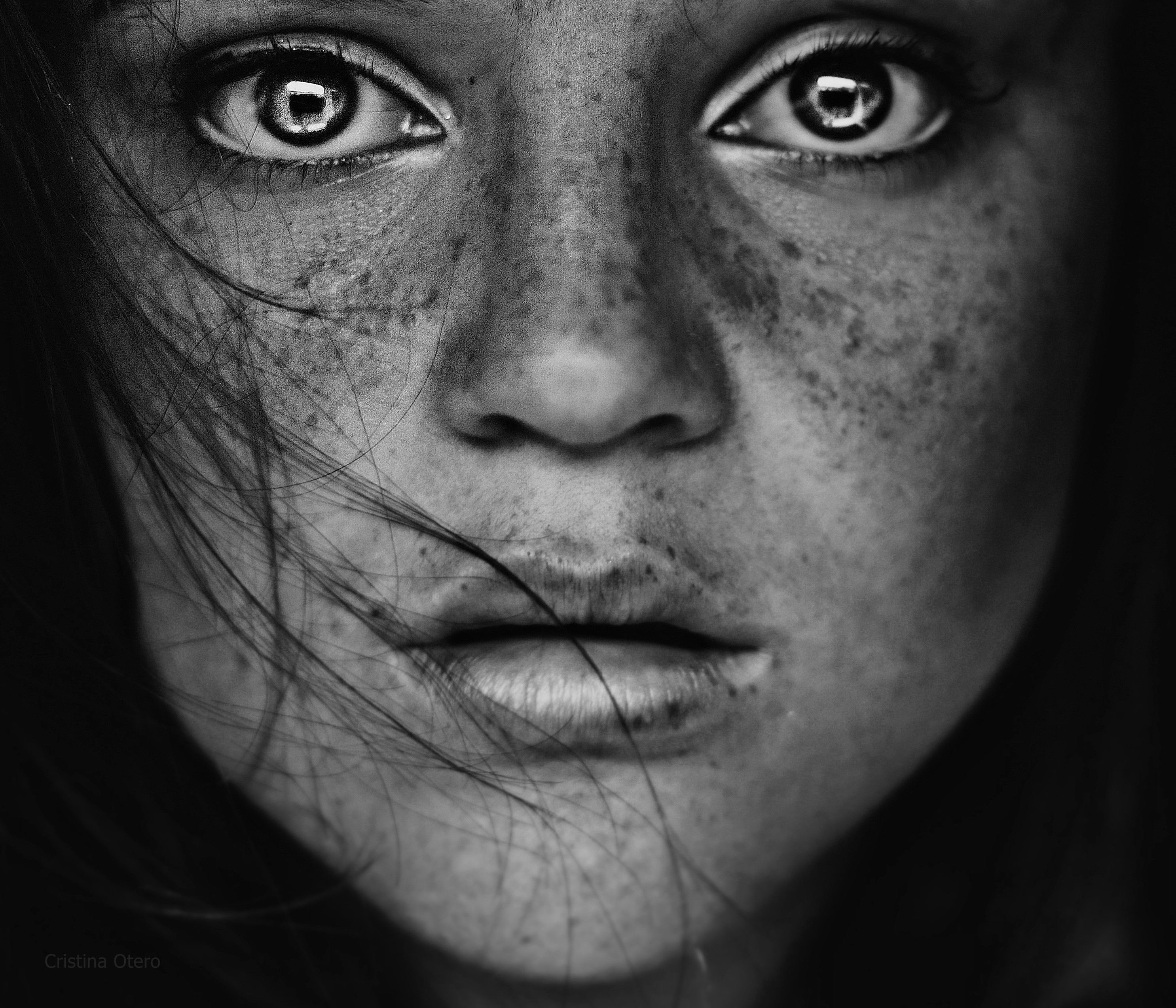 Black and white face with deep eyes