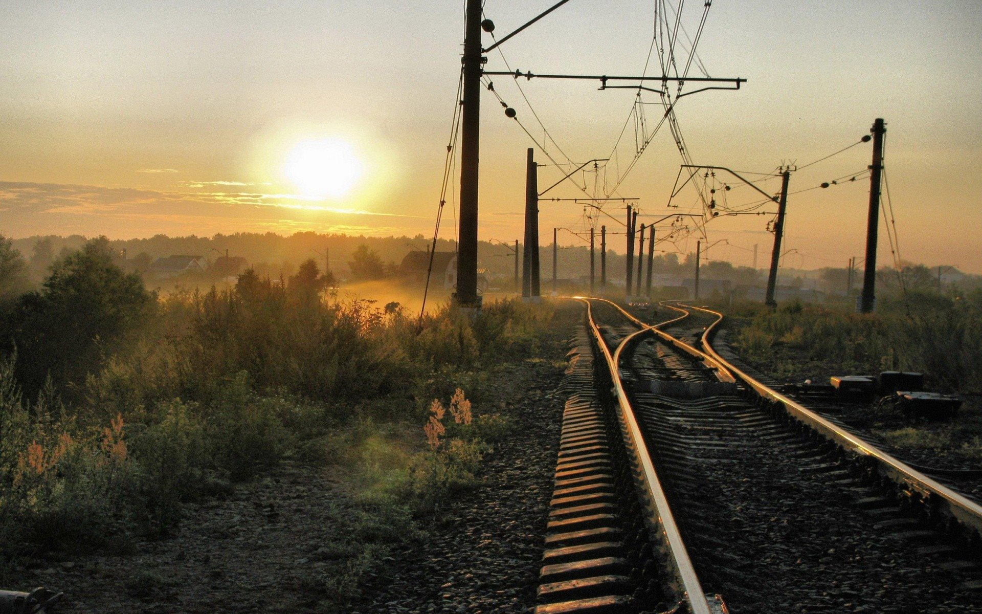 Railway at Bright Sunrise 1834.05 Kb
