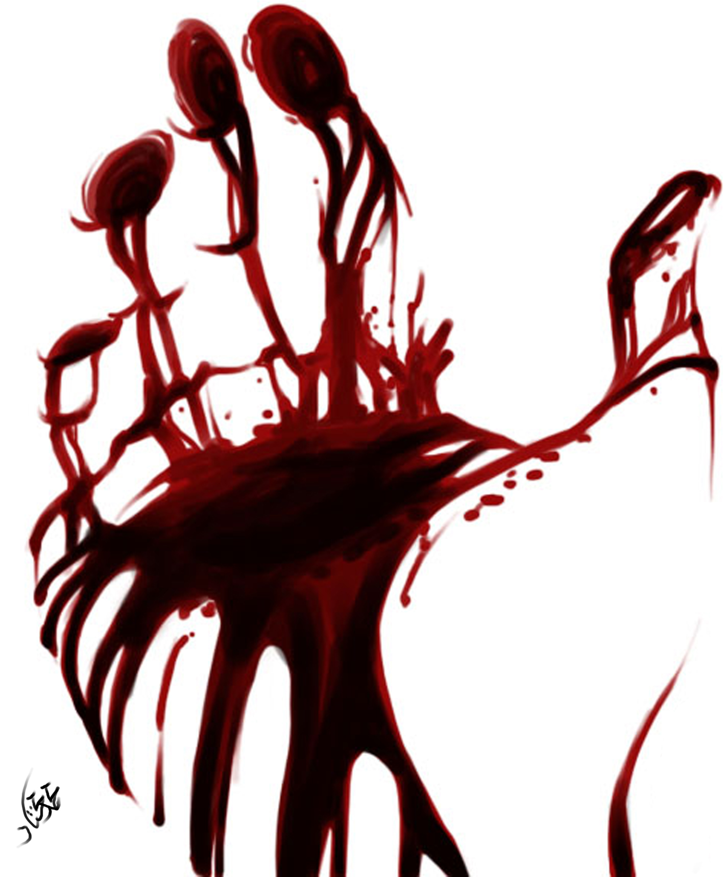 Blood Print on a Hand 2247.8 Kb