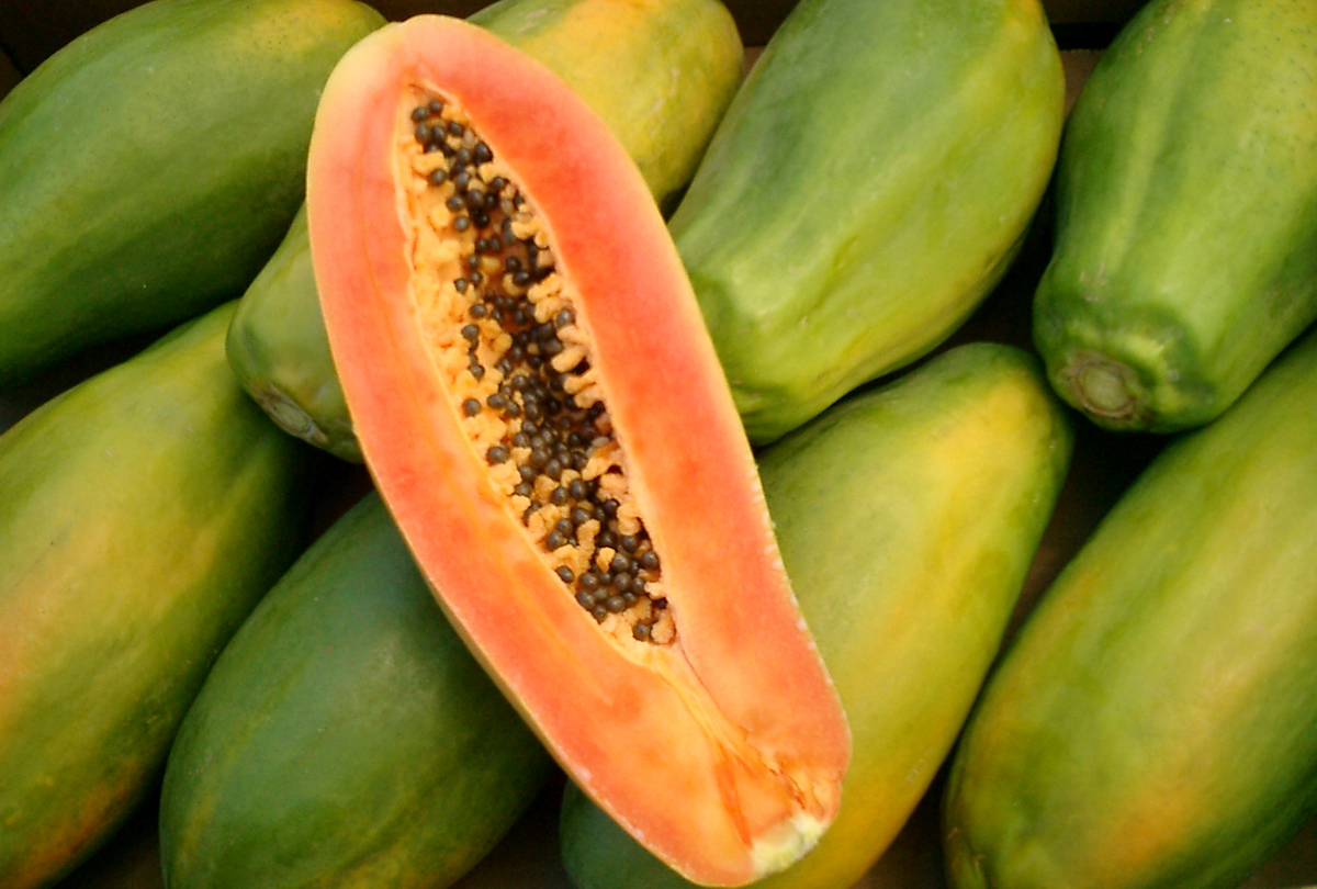 Cut Papaya Fruit
