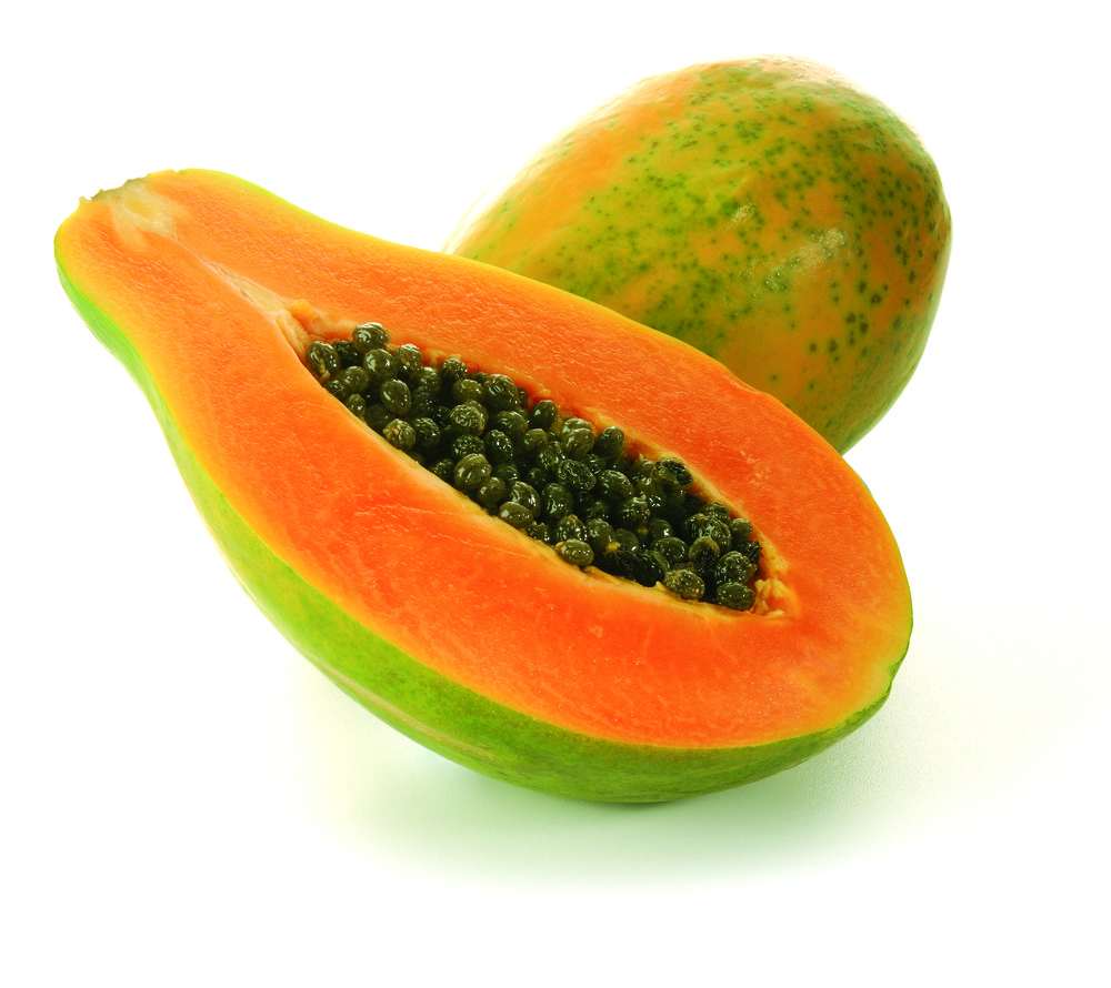 Bright Orange Papaya with Green Skin