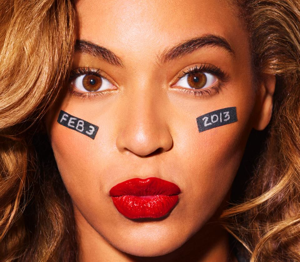 Beyonce Red Lipstick and Face Makeup