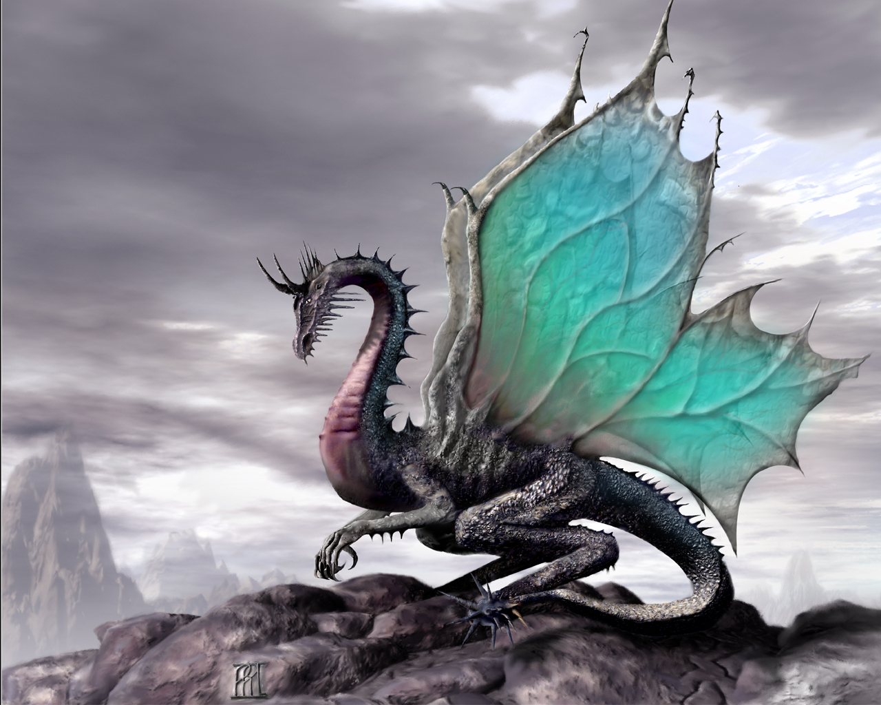Dragon with Blue Butterfly Wings
