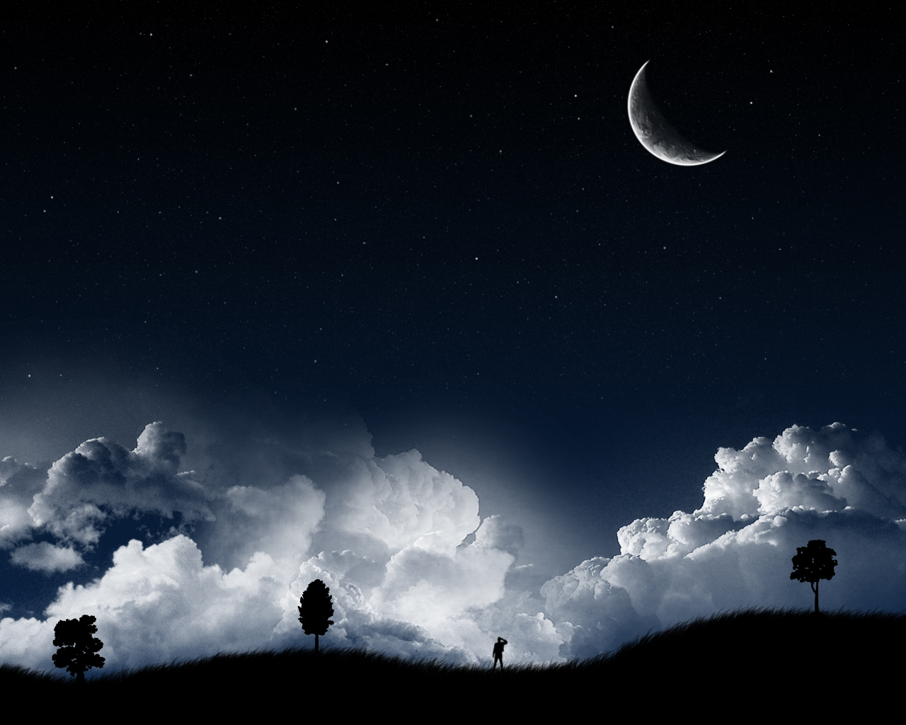 Night Moon over Hilly Landscape 353.03 Kb