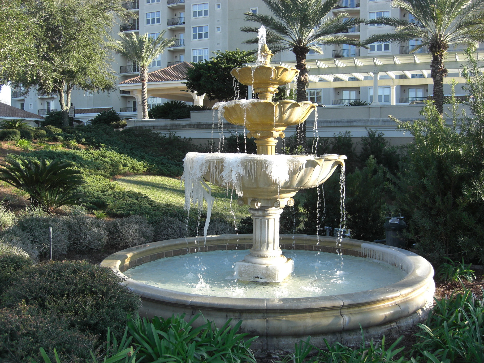 Fountain at the backyard of a hotel 4244617 2048x1536 for Backyard fountains