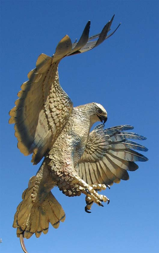 Wooden Hawk Sculpture