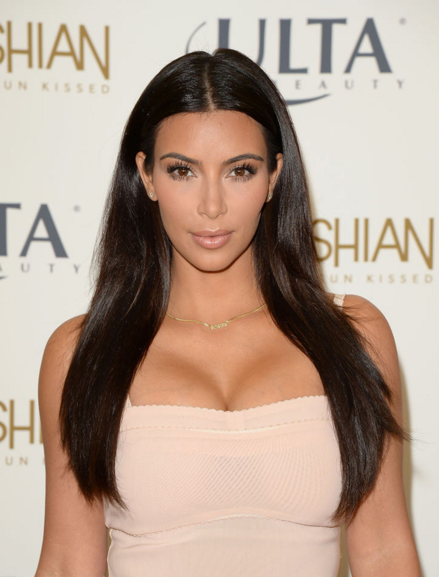 Kim Kardashian in Open Neck Dress