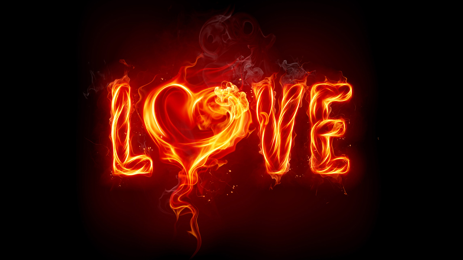 Love Sign in Burning Fire
